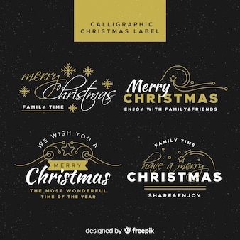 Рождественская коллекция каллиграфических этикеток