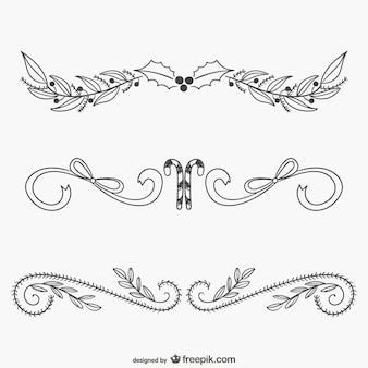 Christmas calligraphic ornaments Free Vector