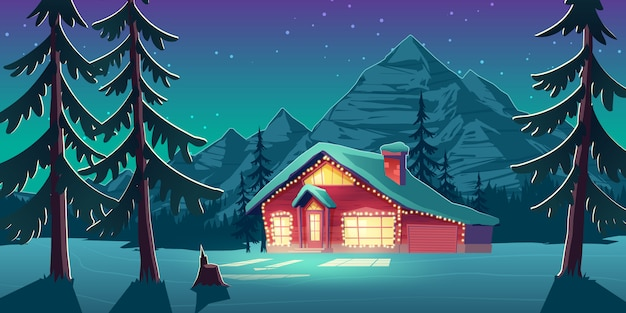Christmas in canada cartoon vector illustration