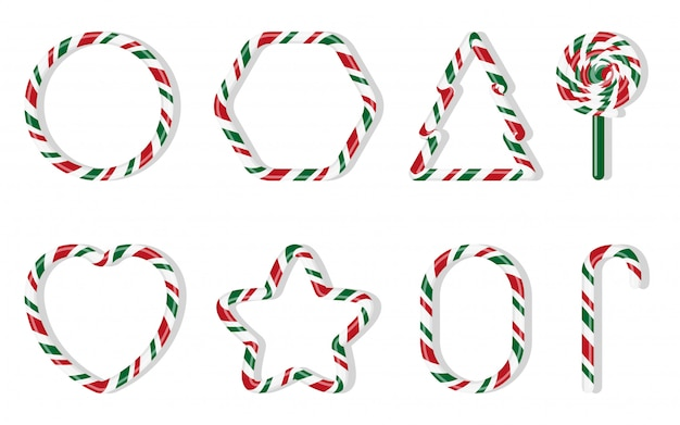 Christmas candies set. red and green treat holiday winter. sweet sugar cartoon noel candy cane