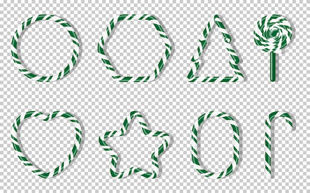 Christmas candies with different shape spiral pattern set. green treat holiday winter. sweet sugar cartoon noel candy cane, fir tree, star, heart, lollipops. transparent background illustration