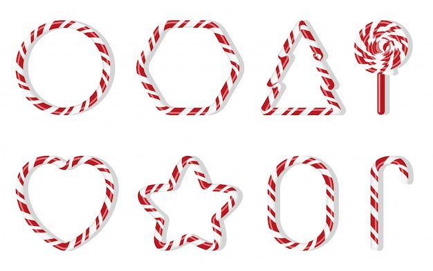Christmas candies with different shape spiral pattern set. red and white treat holiday winter. sweet sugar cartoon noel candy cane, round, fir tree, star, heart, lollipops isolated illustration