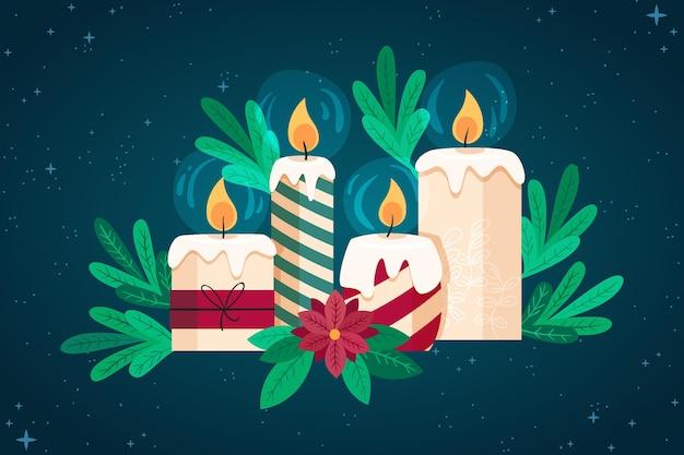 Sfondo di candela di natale in design piatto