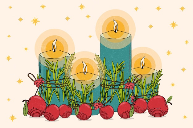 Christmas candle background in hand drawn