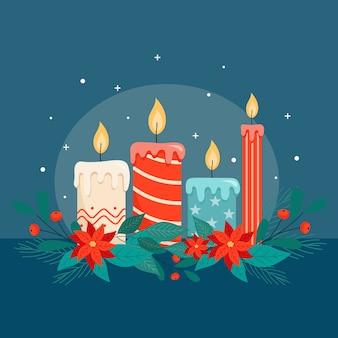 평면 디자인에 크리스마스 양 초 배경