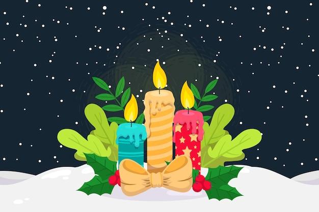 평면 디자인에 크리스마스 촛불 배경