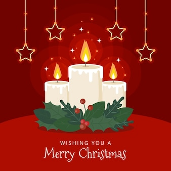 Christmas candle background with greeting
