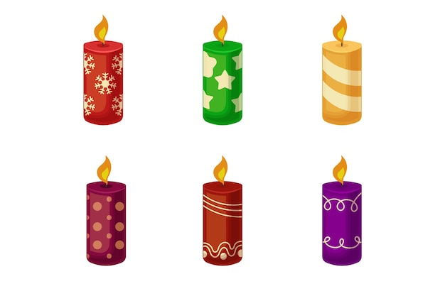 Christmas candle collection in flat design