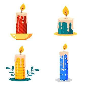 Collezione di candele natalizie in design piatto