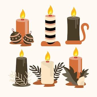 Рождественская коллекция свечей в плоском дизайне