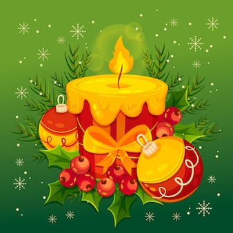 Рождественская свеча плоский дизайн фона