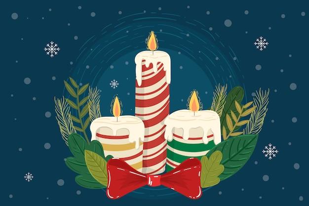 Рождественская свеча рисованной фон