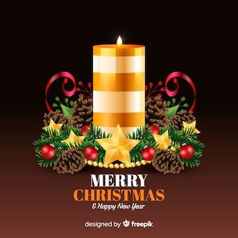 Рождественский фон украшение свечи