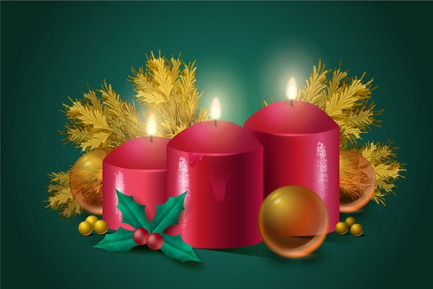 Christmas candle realistic background