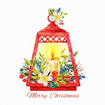 Christmas candle watercolor background with flowers