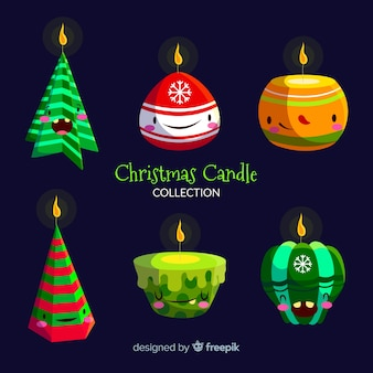 Christmas candle with face collection