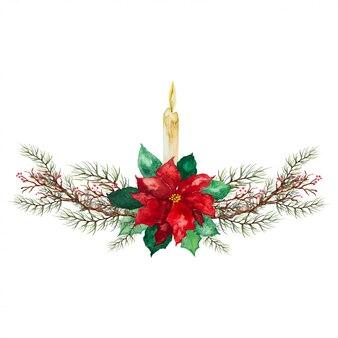 Рождественская свеча с зелеными и красными листьями и красной ягодой - украшение празднования рождества