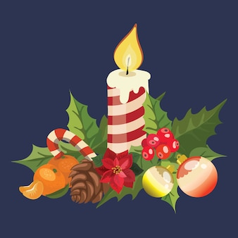 Christmas candle with poinsettia. illustration of a burning candle. drawing for children.