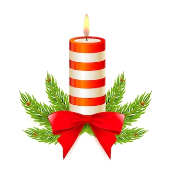 Christmas candle with stripes bow and fir branches design element for new year isolated and editable