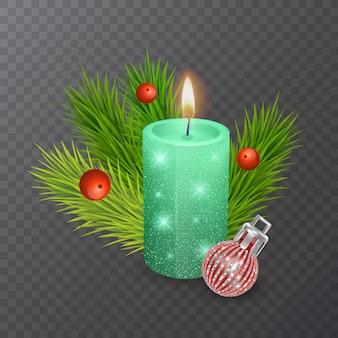 透明な背景、ベクトル形式で分離されたクリスマスキャンドルとクリスマスの装飾