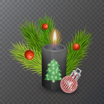 透明な背景に分離されたクリスマスキャンドルとクリスマスの装飾