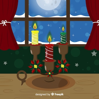 Christmas candles by the window