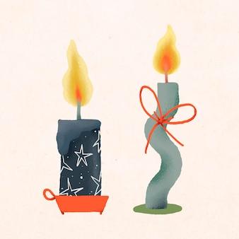 크리스마스 촛불 낙서, 장식 손으로 그린 벡터, 귀여운 겨울 휴가 그림