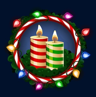 Рождественские свечи в рамке