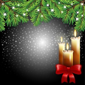 黒の背景にクリスマスキャンドル
