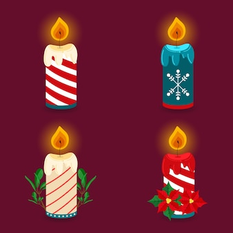 Christmas candles set illustration