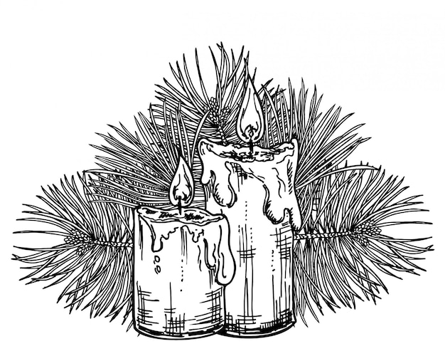 Christmas candles sketch.
