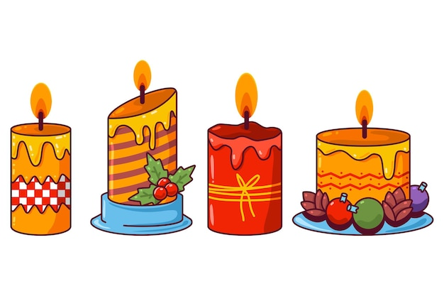 Christmas candles vector cartoon set isolated on a white background.