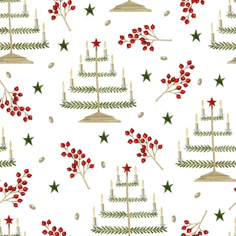 Christmas candles with berries watercolor seamless pattern