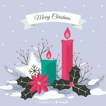 Christmas candles with flowers christmas background