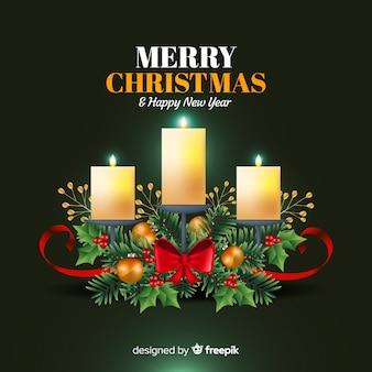 Рождественские свечи венок фон