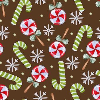 暗い背景にクリスマスキャンディケインとロリポップ水彩シームレスパターン
