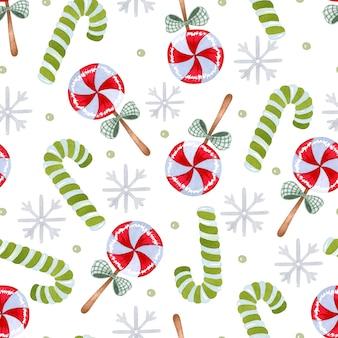 クリスマスキャンディケインとロリポップ水彩シームレスパターン