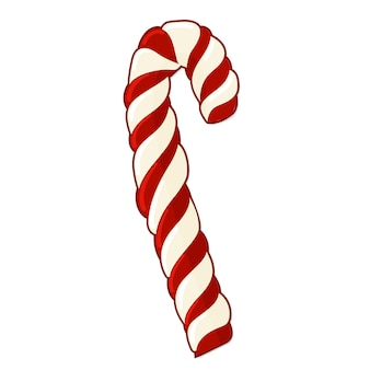 Christmas candy cane in cartoon style. vector illustration on white background.