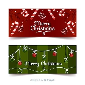 Christmas candy cane christmas balls banner