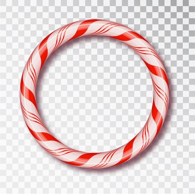 크리스마스 캔디 지팡이 프레임 격리. 빨간색과 흰색 꼬인 코드 프레임.