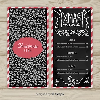 Christmas candy cane pattern menu template