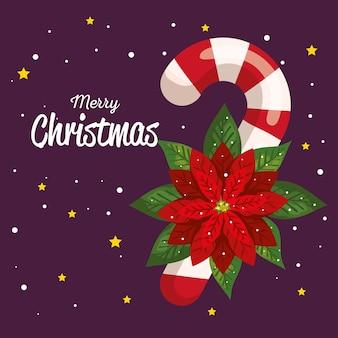 花の装飾、新年のバナー、メリークリスマスのお祝いのデザインとクリスマスキャンディケイン