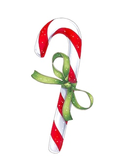 Christmas candy cane with green bow watercolor illustration