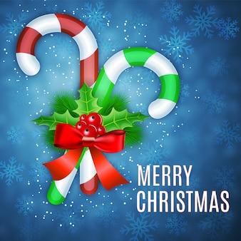 Рождественские леденцы с падубом и красным бантом. новогодний фон для вашего дизайна. векторная иллюстрация eps 10