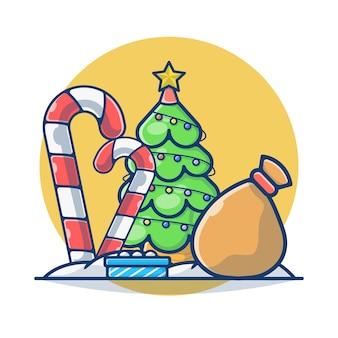 松の木とギフトボックス付きのクリスマスキャンディケイン