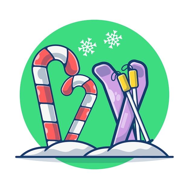 スキースポーツとスノーフレークとクリスマスキャンディケイン