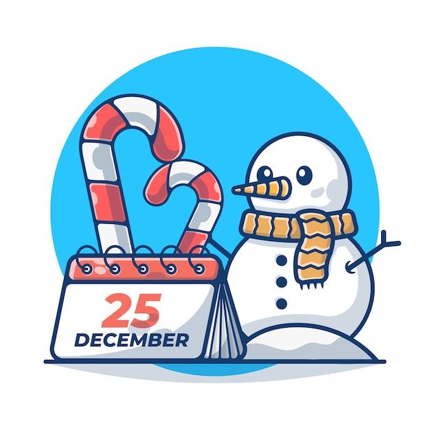 雪だるまとカレンダーのクリスマスキャンディケイン