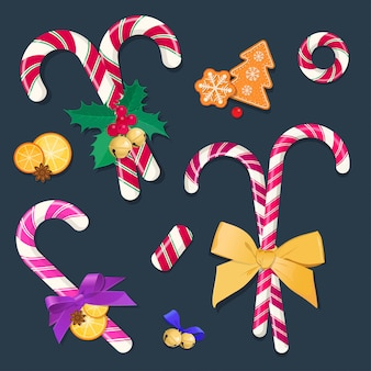 Christmas candy canes with bows and decorations. graphic elements for new year christmas and new year.  illustration.