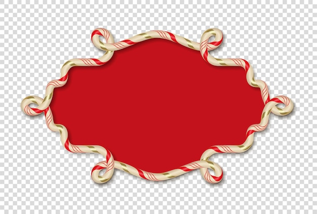 Christmas candy frame on transparent background
