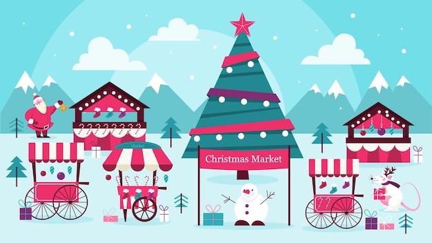 クリスマスのお菓子市場のイラスト。お祝い料理と休日の装飾。伝統的な装飾が施された大きなクリスマスツリー。サンタと雪だるまは、古典的な休日のイベントで人々に挨拶します。